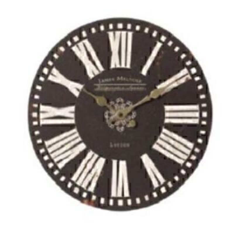 Shabby chic wooden clock by Heaven Sends with black and white floral design. Would make a great new home give. Diameter 35cm