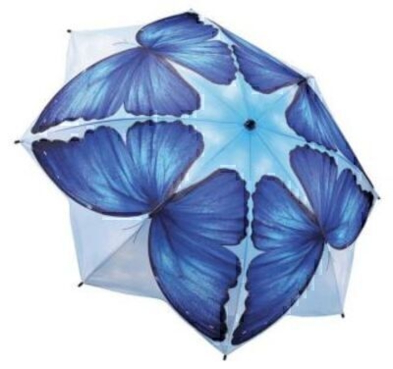 Blue Butterfly Umbrella By Blooming Brollies - Folding: Booker Gifts