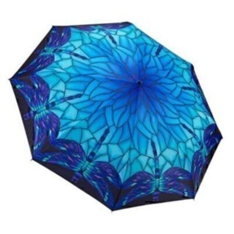 Blue Dragonfly Tiffany Lamp Style Folding Umbrella by Blooming Brollies. Another stunning Folding Umbrella from Galleria. This umbrella has virtually unbreakable fiberglass ribs and is automatic opening and closing. With a length of 32cm when closed, a h