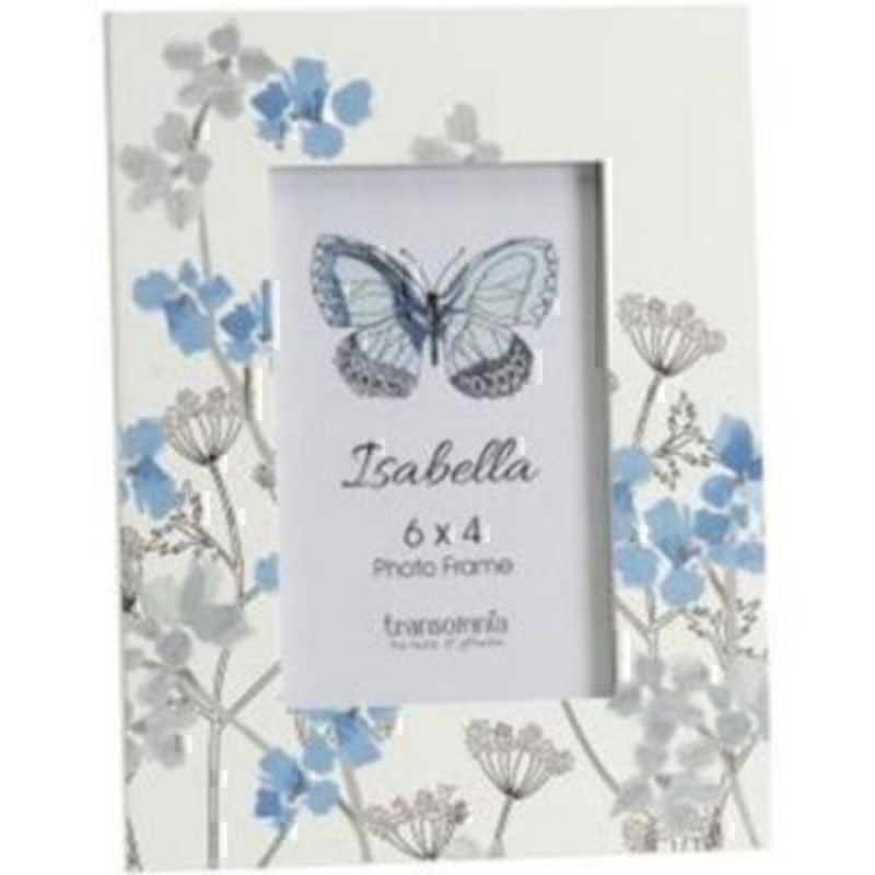 Blue and Grey Flowered Isabella Photo Frame Transomnia: Booker Gifts