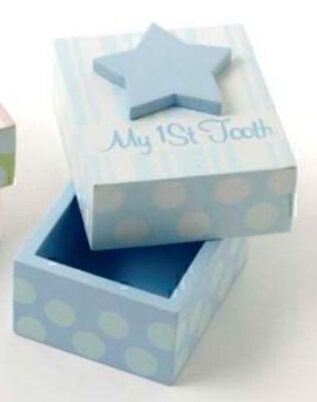 My first tooth box for boys by Heaven Sends. Blue wooden box with star on top. Size 8x7x7cm
