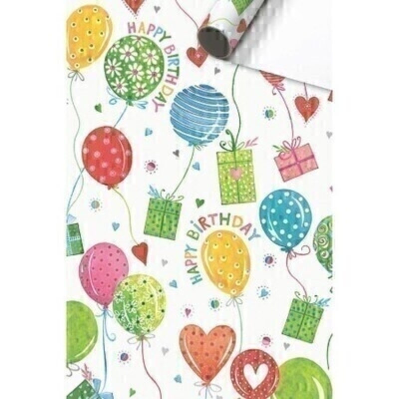 Luxury Odette bright and colourful balloons and hearts Happy Birthday roll wrap paper by Swiss designer Stewo. Quality bright white coated birthday wrapping paper 80gsm. Approx size of roll 70cm x 2metres.
