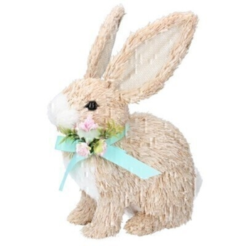 Cute bristle Easter Bunny wearing a lovely green bow and small flowers. Ornament from designer Giesela Graham who designs unique Easter gifts and decorations. Would make a lovely Easter gift or Easter decoration.