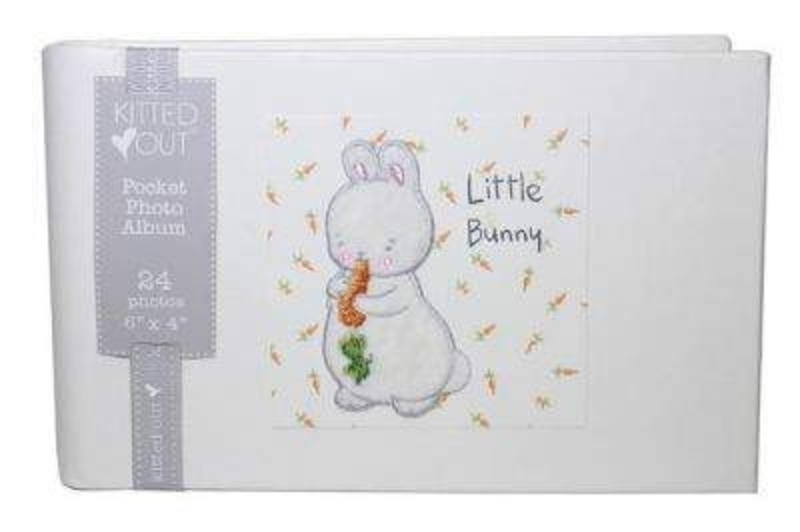 Bud Bunny Rabbit Pocket Photo Album by Deva Designs. Part of the Bunnies by the Bay Range distributed by Deva Designs. Beautiful Baby Gift. This Baby Photo album holds 24 x 6x4