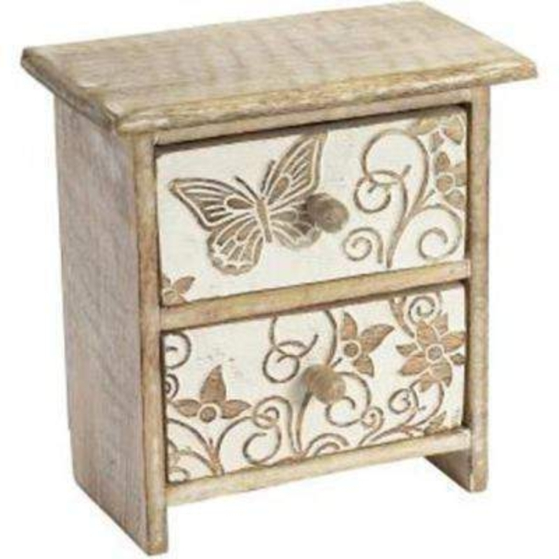 Carved Wood Butterfly 2 Drawer Box by Transomnia: Booker Gifts