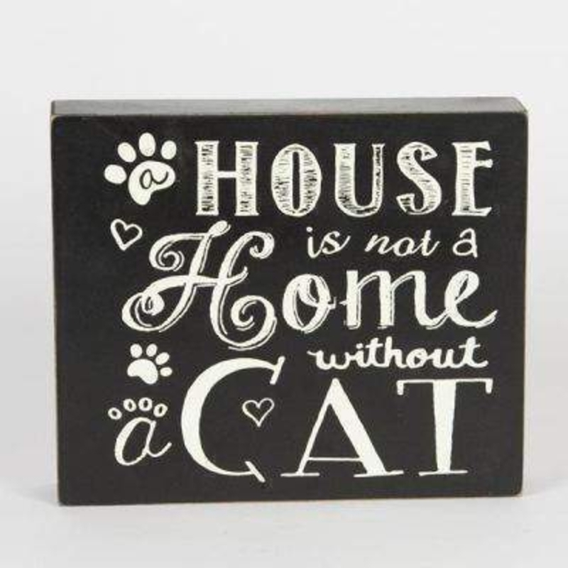 Cat Home Chalkboard Style Sign by Sass and Belle. This chalkboard look block sign with the caption 'A House is not a Home without a Cat' will be a great gift for a cat lover. Size 18x15x4cm