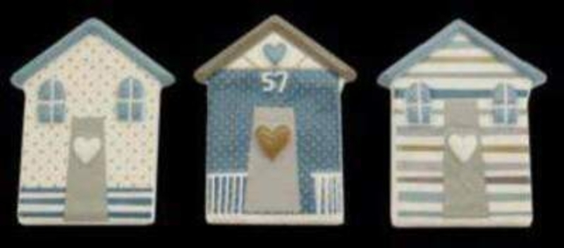Ceramic Beach Hut Magnet - Choice Of 3 By Gisela Graham: Booker Gifts