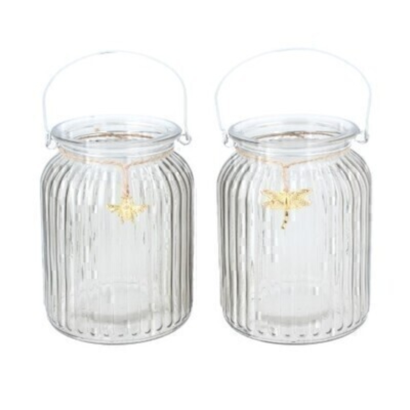 Delicate grey glass t-lite jar. This lovely glass t.light is decorated with a gold bumble bee or dragonfly. Made by designer Gisela Graham who designs really beautiful gifts for your garden and home. Would make an ideal gift. Choice of 2 available - Bumble Bee or Dragonfly (please specify when ordering which one you would like)  If two are ordered we will send you one of each. Matching items available.