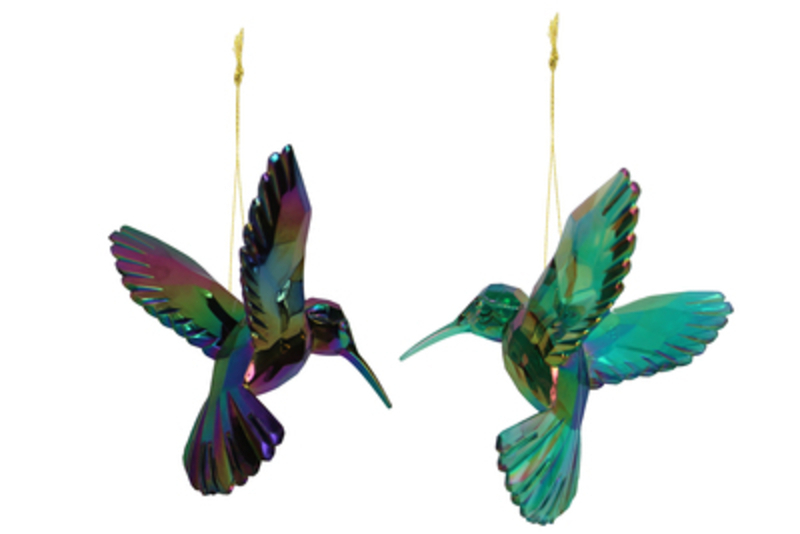 Decorative Acrylic Peacock Hummingbird Christmas Tree hanging decoration by Gisela Graham would look lovely on your tree this Christmas. Choice of 2 - If you have a preference please specify when ordering. This fesive colourful hummingbird ornament by Gisela Graham will delight for years to come. It will compliment any Christmas Tree and will bring Christmas cheer to children at Christmas time year after year. Remember Booker Flowers and Gifts for Gisela Graham Christmas Decorations. Please note this is not a set of 2 - there is a choice of 2 different designs.