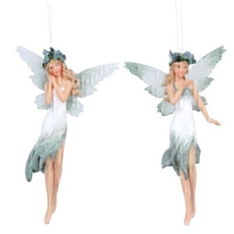 Choice of two pale green Fairy Christmas tree hanging decoration by Gisela Graham. This fesive hanging ornament by Gisela Graham will delight for years to come. It will compliment any Christmas Tree and will bring Christmas cheer to children at Christmas time year after year. Remember Booker Flowers and Gifts for Gisela Graham Christmas Decorations. Choice of 2 available - If you have a preference please specify when ordering (praying hands or one hand down) otherwise we will make the selection for you. If two are ordered one of each design will be sent.