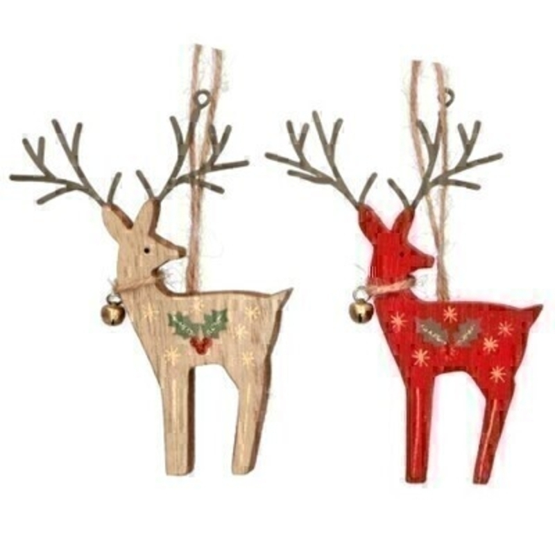 Choice of two wooden Reindeer Christmas tree hanging decoration by Gisela Graham. This fesive hanging ornament by Gisela Graham will delight for years to come. It will compliment any Christmas Tree and will bring Christmas cheer to children at Christmas time year after year. Remember Booker Flowers and Gifts for Gisela Graham Christmas Decorations. Choice of 2 available - If you have a preference please specify when ordering (natural or red) otherwise we will make the selection for you. If two are ordered one of each design will be sent.