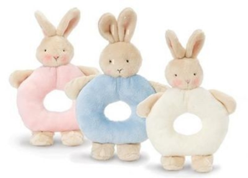 Choice of 3 Bunny Rabbit Ring Rattles by Deva Designs. Part of the Bunnies by the Bay Range distributed by Deva Designs. Choice of 3 pink - blue and cream if preference please specify choice when ordering. Soft touch plush bunny rabbit ring rattle. Siz