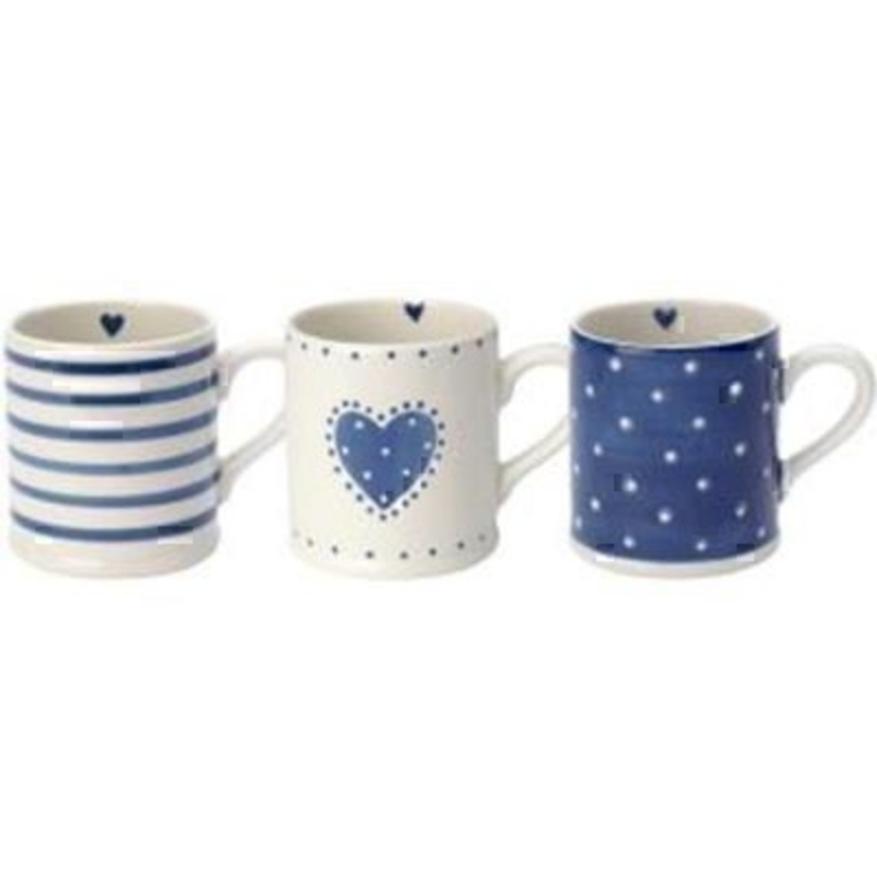 Choice of Blue and White Patterned Mugs by Transomnia: Booker Gifts