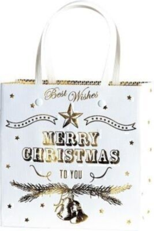 Christmas Gift Bag White Gold Bells Belle Gold Small by Stewo. This quality gift bag by Swiss designers Stewo will not disappoint. It has all the quality and detailing you would expect from Stewo. This gift bag is made from thick card. The strong handles