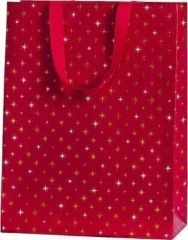 Christmas Gift Bag Red Gold Silver Stars Large by Stewo: Booker Gifts