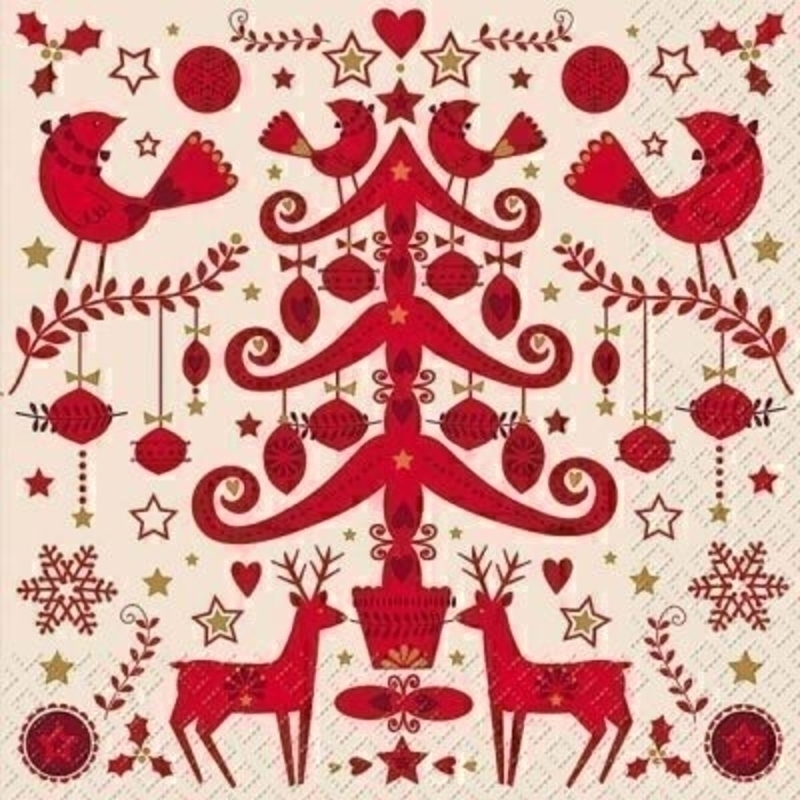 Christmas Napkins Tree and Reindeer Red Malmö by Stewo. White background with red Nordic style Christmas Tree and reindeers. 20 napkins in pack. 3 ply. 33x33cm. Environmentally friendly cellulose printed with water-based inks.