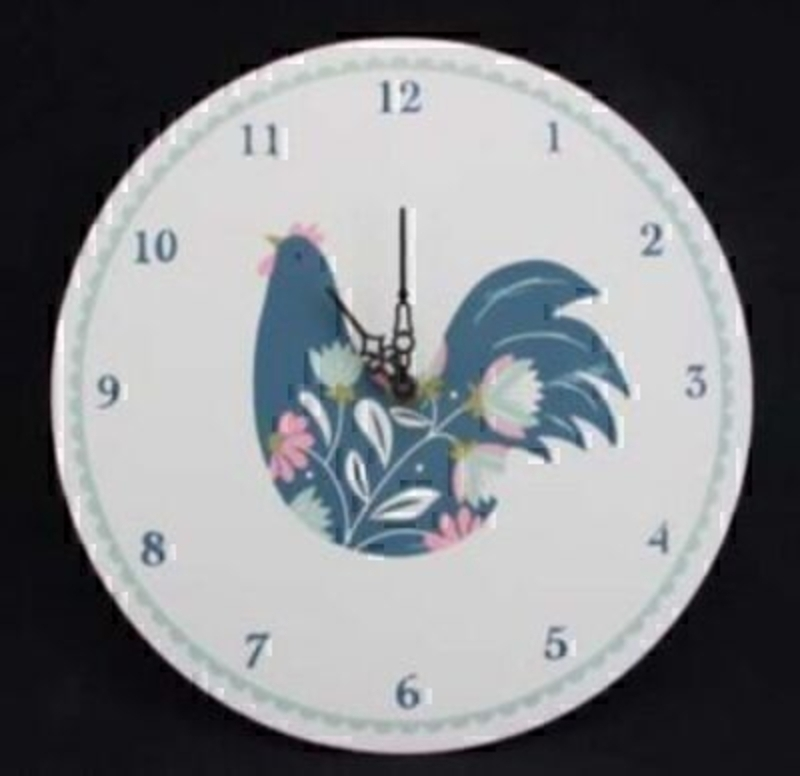 Colourful Hen Wooden Clock By Gisela Graham: Booker Gifts