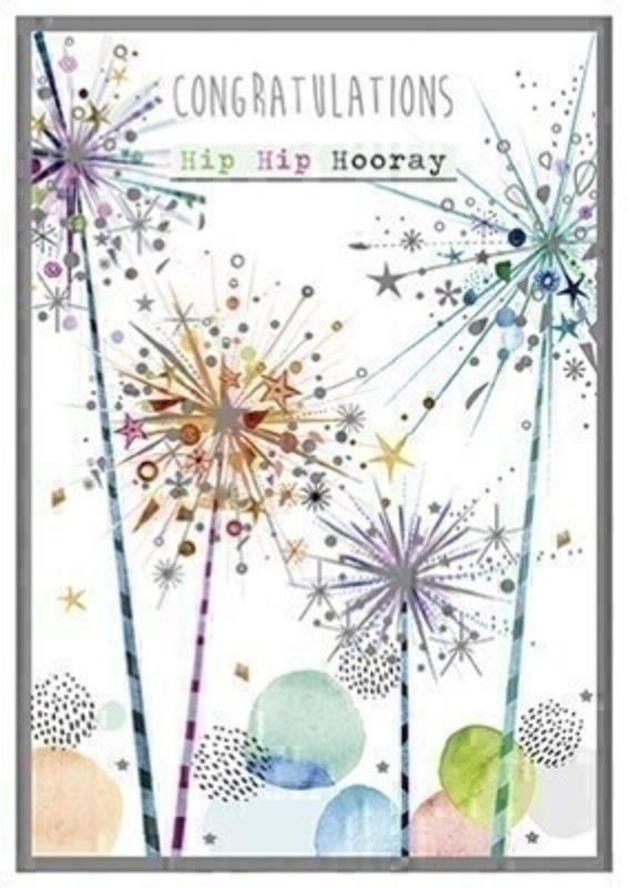 This colourful greetings card from Paper Rose has a picture of sparklers on the front celebrating with CONGRATULATIONS Hip Hip Hooray written on the front. The card has Fantastic news! inside and it comes complete with pink envelope.  A lovely little card to send to someone who is celebrating.