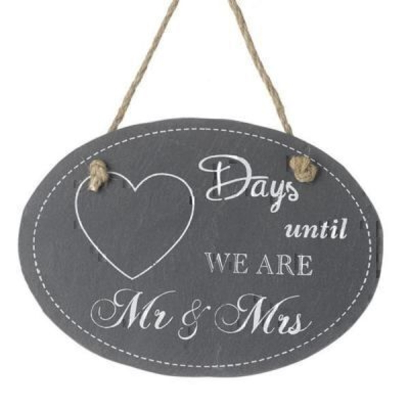 Days Countdown Wedding Mr Mrs by Heaven Sends. Slate Chalk board sign to countdown the days until you get married. A great engagement gift for a newly engaged couple. A picture of a heart where you would write days with ''days until we are Mr and Mrs'' written on. Size 19x13cm