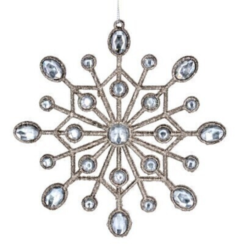 This beautiful diamante and silver snowflake Christmas tree hanging decoration is by Designer Gisela Graham. This fesive hanging ornament by Gisela Graham will delight for years to come. It will compliment any Christmas Tree and will bring Christmas cheer to children at Christmas time year after year. Remember Booker Flowers and Gifts for Gisela Graham Christmas Decorations.
