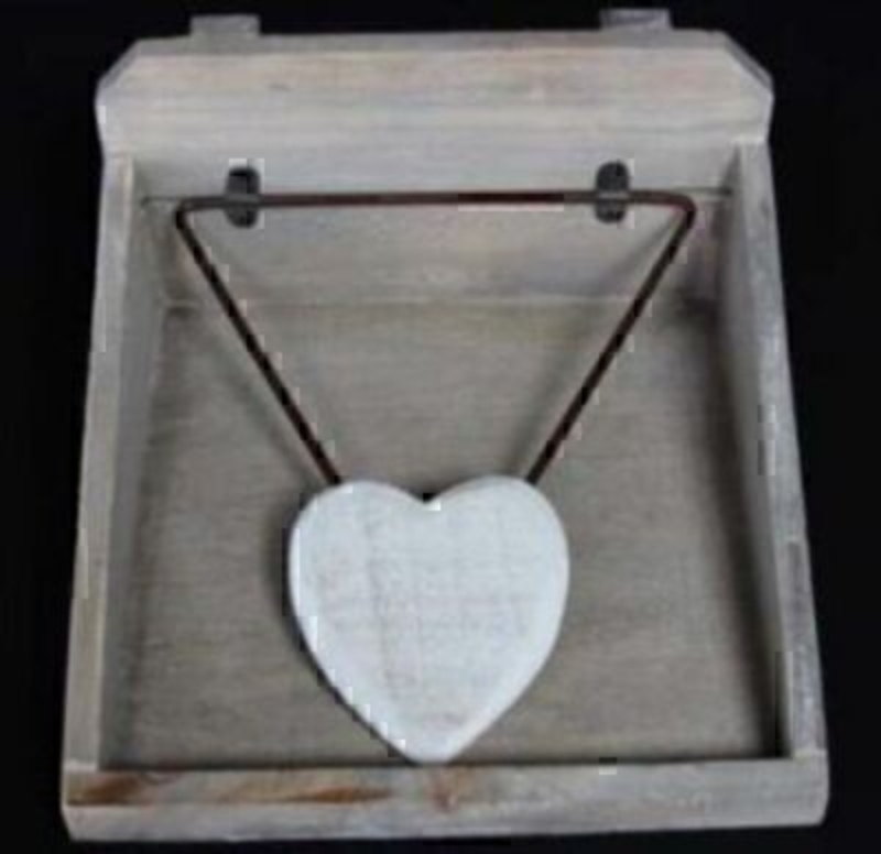 Distressed Wood Heart Napkin Holder By Gisela Graham: Booker Gifts