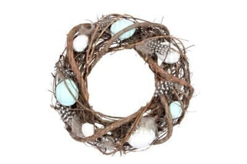 Easter twig wreath with artifical blue and white eggs and feathers.  This nest design comes from designer Gisela Graham who makes unique Easter gifts.  Would make a lovely Easter gift.