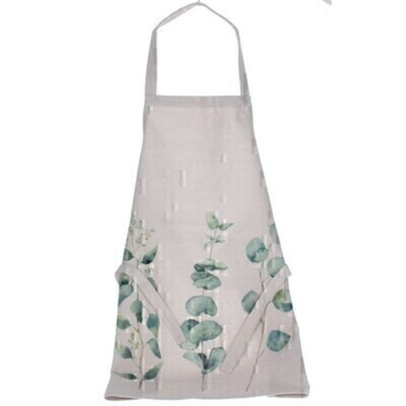 Cotton apron with a Eucalyptus pattern by the London based designer Gisela Graham who designs really beautiful gifts for your home and garden. Would make an ideal gift. Matching items available.