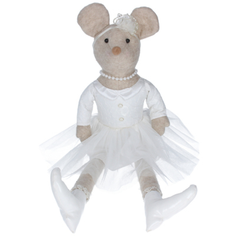 This large fabric sitting Princess Mouse Christmas Ornament by designer Gisela Graham will make a lovely addition to your Christmas decorations. Sure to make everyone smile.  This pretty mouse is wearing a white tutu dress and pearls round her neck and it will delight for years to come. It will compliment any Christmas deccorations and could be sat next to your Christmas Tree or in your hallway or on your mantlepiece at Christmas year after year. Remember Booker Flowers and Gifts for Gisela Graham Christmas Decorations.