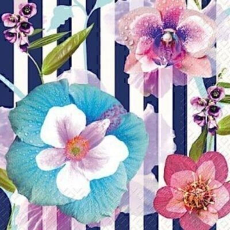 Flower Stripe Ayano Flower Napkins By Stewo: Booker Gifts