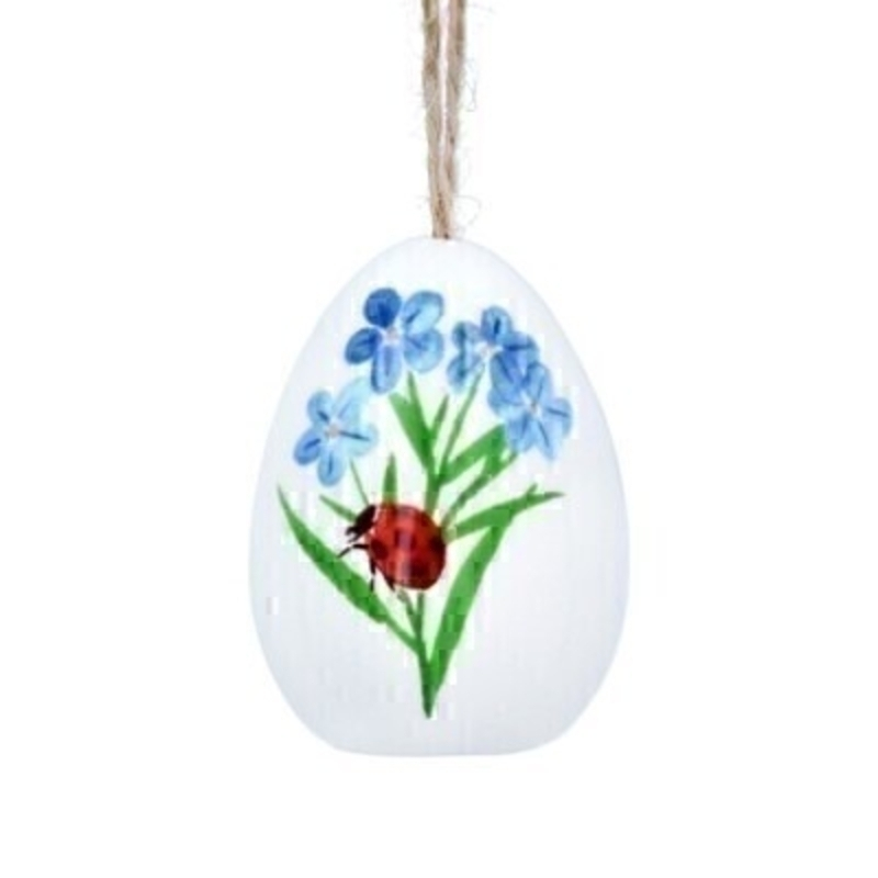 If you are looking for some Easter decorations for your Easter Tree then be sure not to miss this cute ceramic Easter Egg decorated with blue forget-me-not flowers and ladybird. This hanging decoration is made by designer Gisela Graham. Comes complete with string to hang on your Easter Tree and makes a lovely Easter Hanging Decoration.