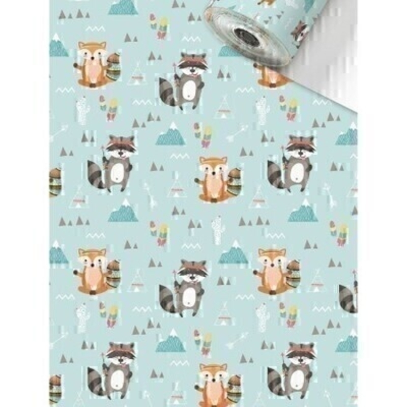 Luxury Matz Fox and Raccoon on a cowboys and indians light blue background roll wrap paper by Swiss designer Stewo. Quality bright white coated wrapping paper 80gsm. Approx size of roll 70cm x 2metres.
