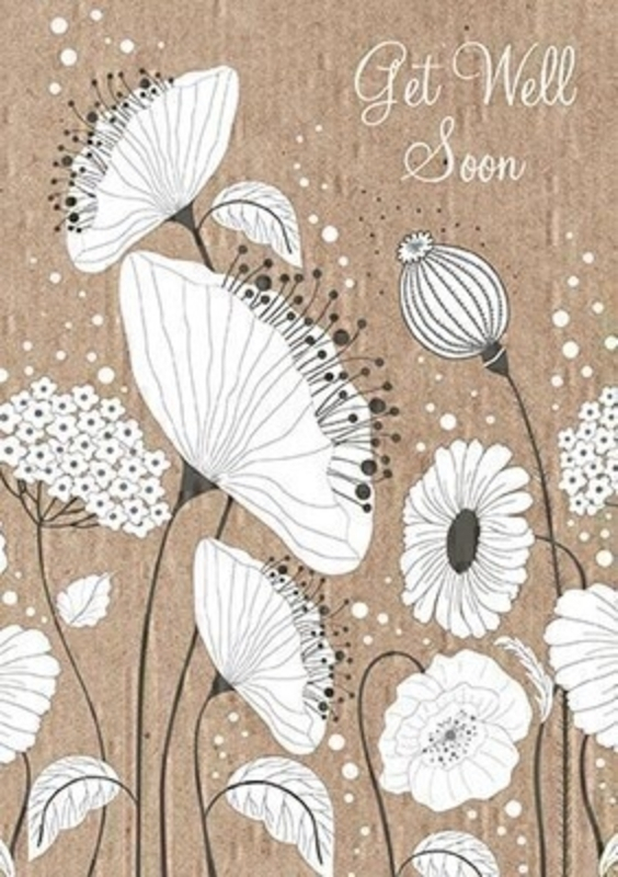 This Get Well Soon card from Paper Rose is sure to make someone feel better.  The front is covered in Poppies and Poppy Seed Heads in white behind a brown (kraft) background featuring Get Well Soon.  Inside the message reads Hope You Feel Brighter Soon and it comes complete with white envelope.