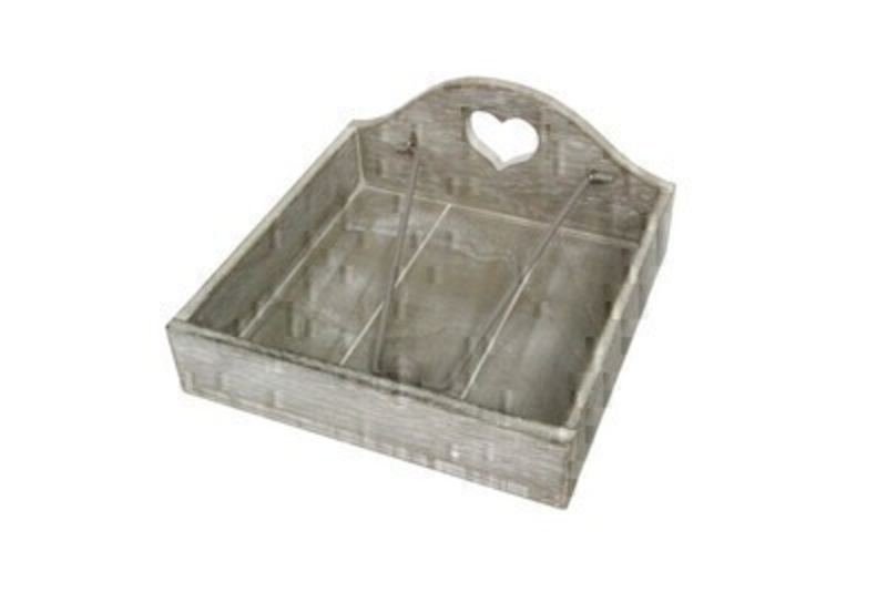 Rustic Grey Wood Carved Heart Napkin Holder by Designer Gisela Graham. Perfect for parties picnics or bbqs.