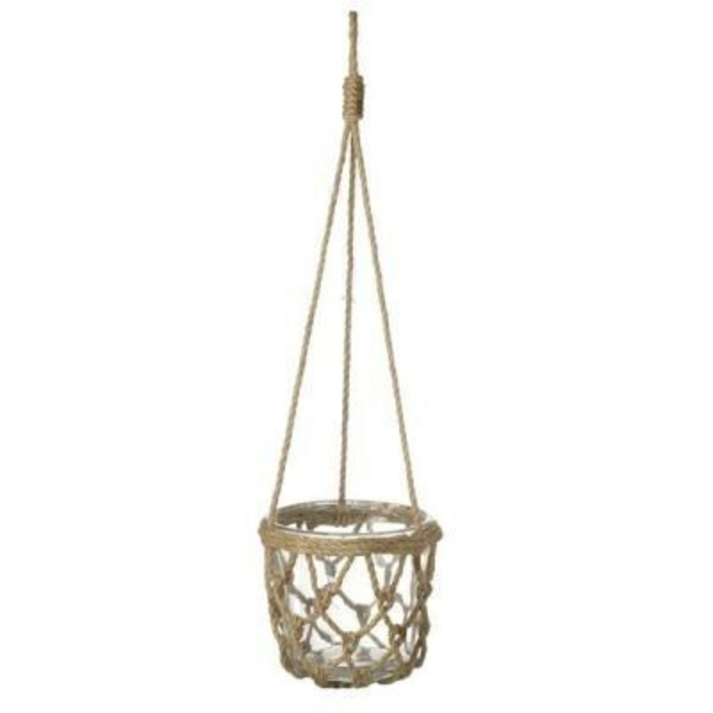 This Glass Pot Hanging in a Macramé Rope Holder by Heaven Sends would be a lovely addition to any home or garden. The glass pot sits inside a macramé rope knotted holder and then is suspended from rope with a rope loop at the top to hang from. Made from g