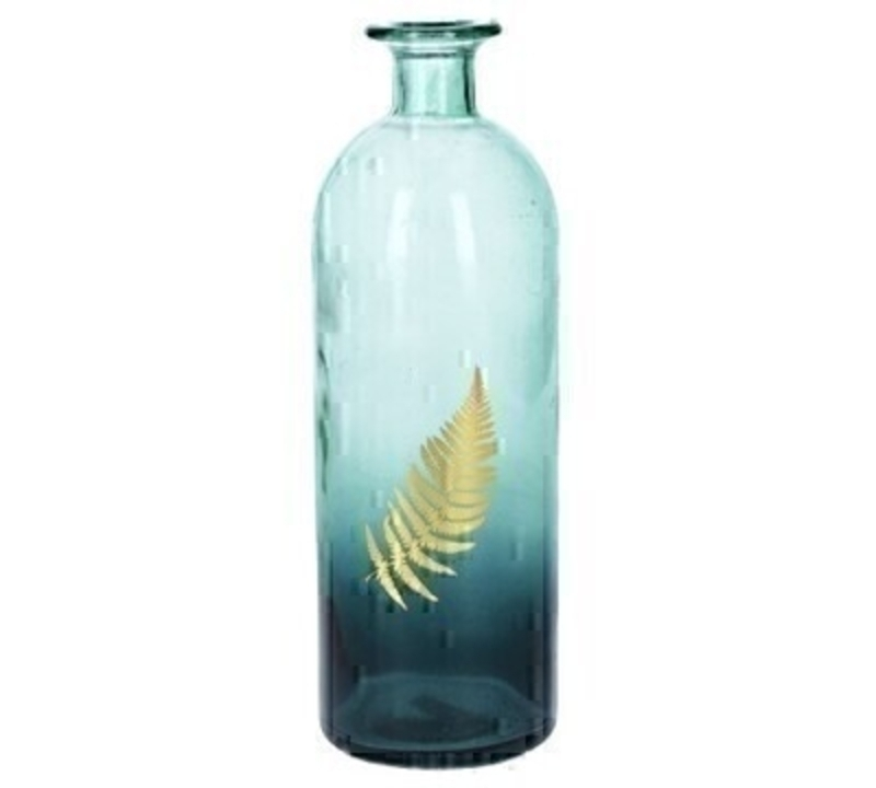 <p>Delicate bottle shaped glass vase. This lovely large glass vase has an ombre style and is decorated with a gold fern leaf that would look good in use or not. Made by designer Gisela Graham who designs really beautiful gifts for your garden and home. Would make an ideal gift. Also comes available in a small size. Size (LxWxD) 9x26.5x9cm</p>