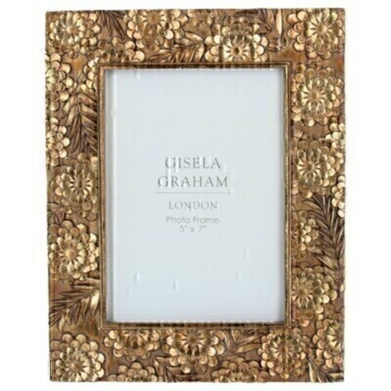 This lovely antique Gold picture frame features a floral design and fits a 5 x 7 inch photo. Made by London based designer Gisela Graham who designs really beautiful gifts for your home and garden.  This pretty photo frame would suit any home decor and would make a lovely gift.