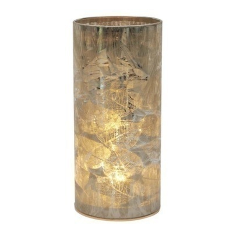 Gold Frosted Leaves LED Cylinder Light. Would look lovely in any home. Would make a perfect gift for yourself or as a treat to someone else.  Made by Transomnia.