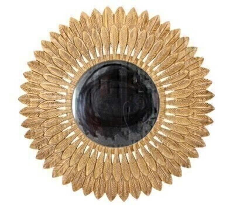 <p>Decorative Gold Resin Feather Design Round Wall Mirror by designer Gisela Graham. This stunning mirror is a statement piece all homes deserve. Would make an ideal gift for someone special or as a treat for your own home. Size (LxWxD) 50x50x15cm</p>