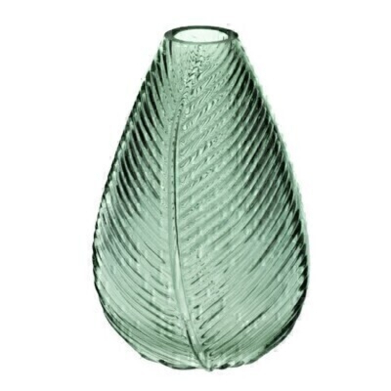 This patterned green glass vase with leaf design is made by the London based designer Gisela Graham who designs really beautiful gifts for your home and garden. It is suitable for artifical or real flowers or would loook lovely empty to show off its design. Would make an ideal gift.
