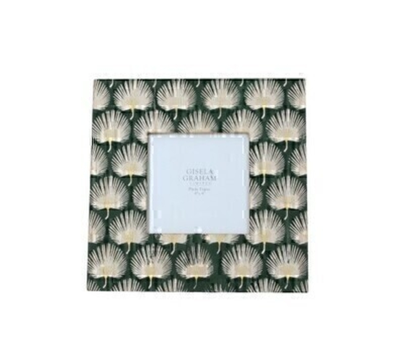 This lovely square picture frame features a gold leaf design on a dark green background and fits a square 4 x 4 inch photo. Made by London based designer Gisela Graham who designs really beautiful gifts for your home and garden.  This petite photo frame would suit any home decor and would make a lovely gift.