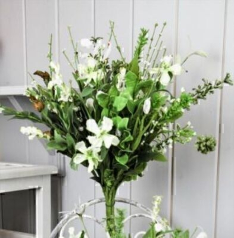 Green and White Artificial Meadow Flowers by Bloomsbury: Booker Gifts