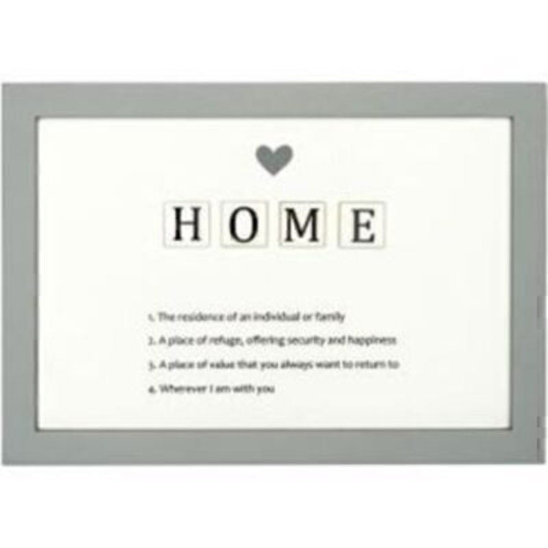 HOME Letter Tiles Definition Picture by Transomnia. Picture showing the definition of the word HOME with the word spelt out in a tile effect with a heart at the top. Delightful definitions listed under the word. Features a grey picture frame surrounding the sign. Size: 14 x 20 x 1.4cm