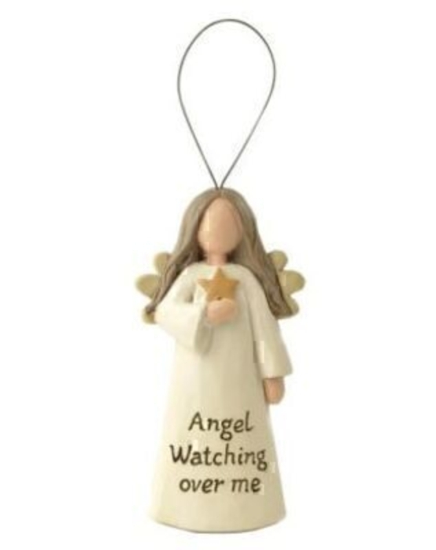 This Hanging Angel Decoration with the quote Angel Watching Over Me by Heaven Sends would be a lovely gift for anyone. Featuring an angel in a cream dress holding a star and with the quote written below on the dress. The Angel decoration also has a hangin