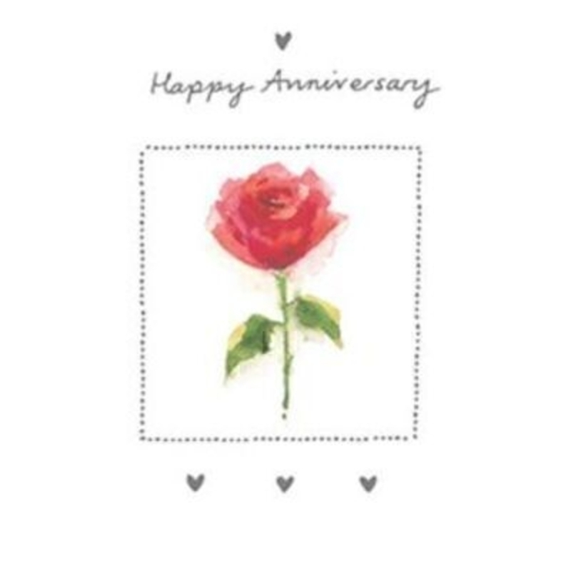 Happy Anniversary Card Red Rose Avocado Design Paper Rose.  A really simple and pretty Anniversary card by Avocado Designs for Paper Rose is an image of a water colour effect of a Red Rose with foil stamping border and hearts. Says 'Happy Anniversary' o