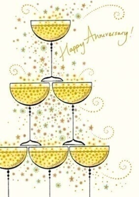 Happy Anniversary! greetings card of champagne glasses with envelope.  This card has Congratulations to you both on this special day written inside.  Perfect for sending Anniversary wishes.