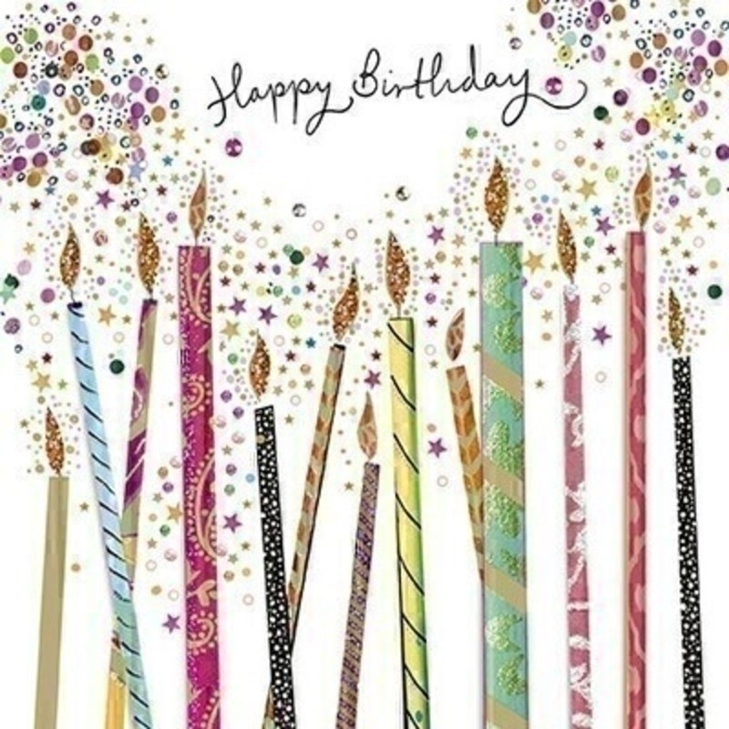This Birthday greetings card from Paper Rose is decorated with colourful large birthday candles two of which are 3D with Happy Birthday written on the front. The card is perfect to send to someone celebrating a birthday and it has Make a Wish! written on the inside. Comes complete with a purple envelope.