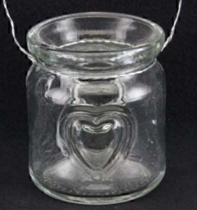 Heart Jar T-Light Candle Holder by Gisela Graham. Embossed Heart on Jar and Silver Wire handle to hang. Jar Size 7x6cm