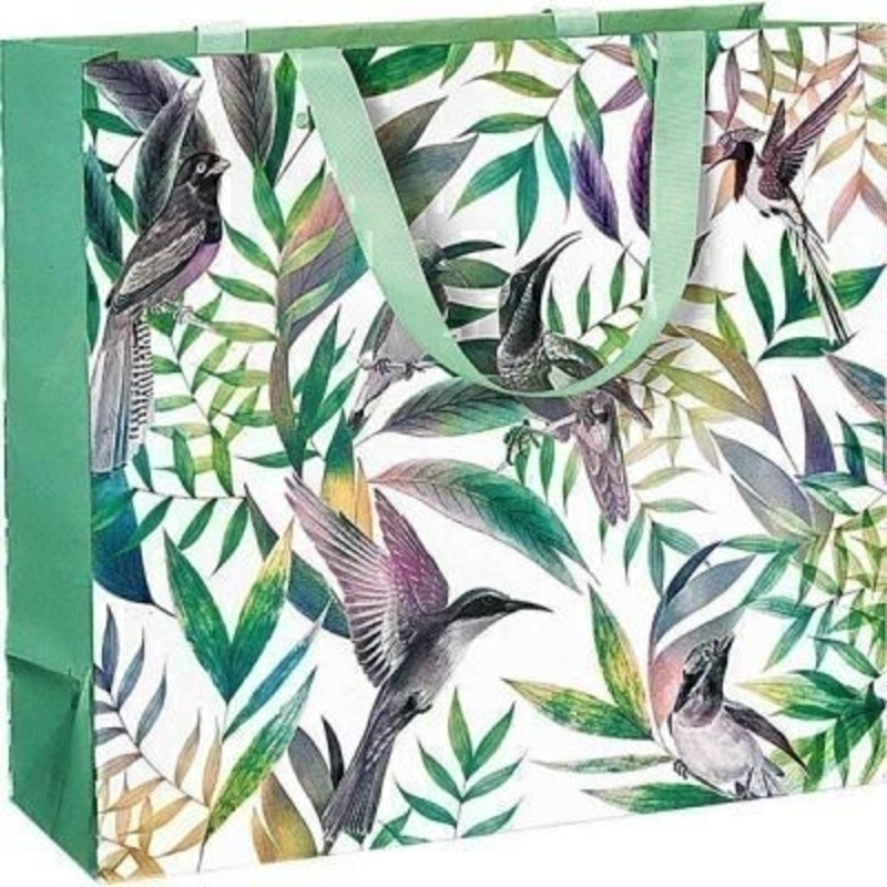 A beautiful contemporary Hummingbird patterned Samora gift bag by Swiss designer Stewo. This gift bag is made from metallised paper and has mint green ribbon handles. This bag has all the quality and detailing you would expect from Stewo. Size 33x30x12cm