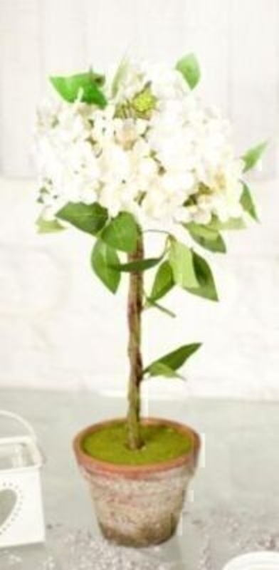 Hydrangea Topiary in Aged Terracotta White silk flowers by Bloomsbury. Size 47x25cm