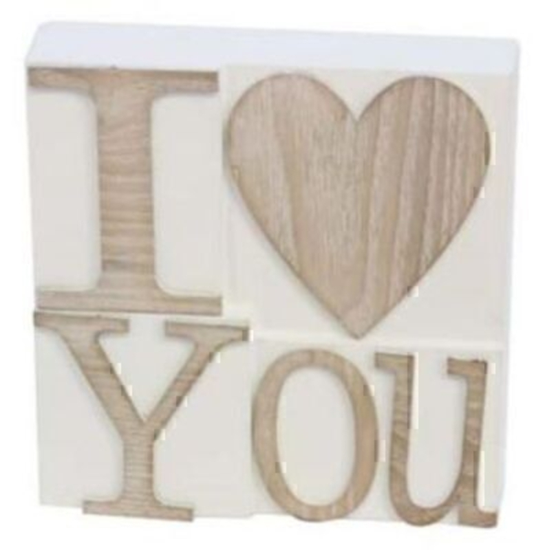 I Heart You Sign White Wood Gisela Graham. This beautiful French style sign is make from wood with white background and natural wood coloured writing with the saying 'I Heart you' would make a great gift for a loved one. Size 15x15x4.5cm